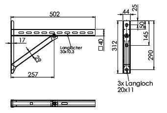 Wandkonsole TYP2 (Paar) Abstand bis 23.5 cm